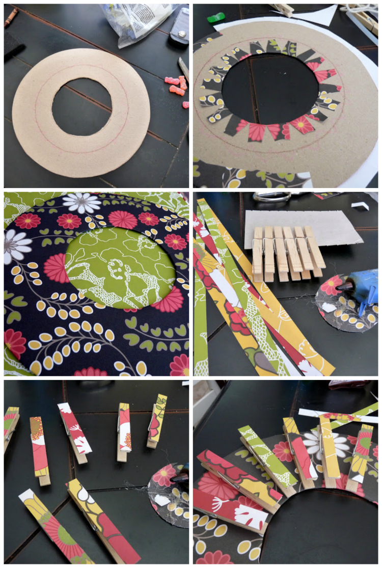 Tea Bag Wreath steps in photos