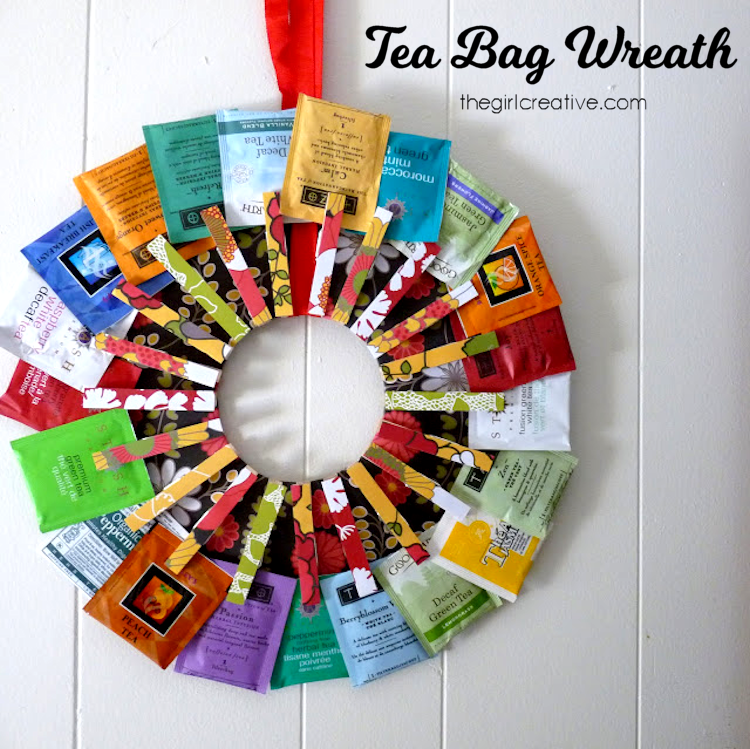 A tea bag wreath is a unique twist on a wreath. It's the perfect gift to give or receive if you are a tea lover. Makes a wonderful Mother's Day, Teacher Appreciation or Housewarming gift idea.