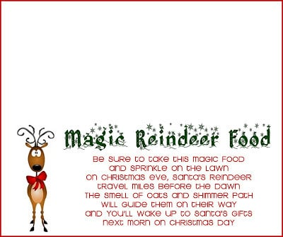 graphic regarding Printable Reindeer Food Tags identify Reindeer Foodstuff Recipe and Printable - The Female Artistic