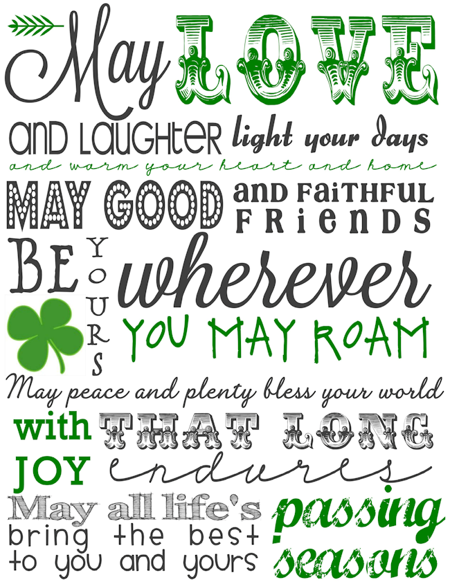 photograph regarding Printable Irish Blessing identified as Printable St. Patricks Working day Subway Artwork - The Woman Resourceful