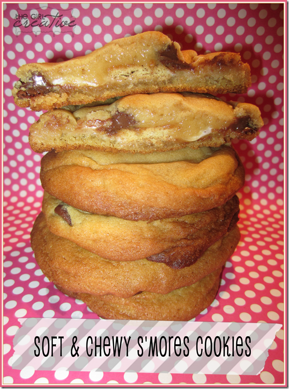 mores Stuffed Chocolate Chip Cookies - The Girl Creative