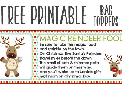 Magic Reindeer Food Recipe and Printable Treat Bag Toppers