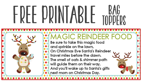 graphic regarding Printable Reindeer Food Tags named Magic Reindeer Meals Recipe and Printable Take care of Bag Toppers
