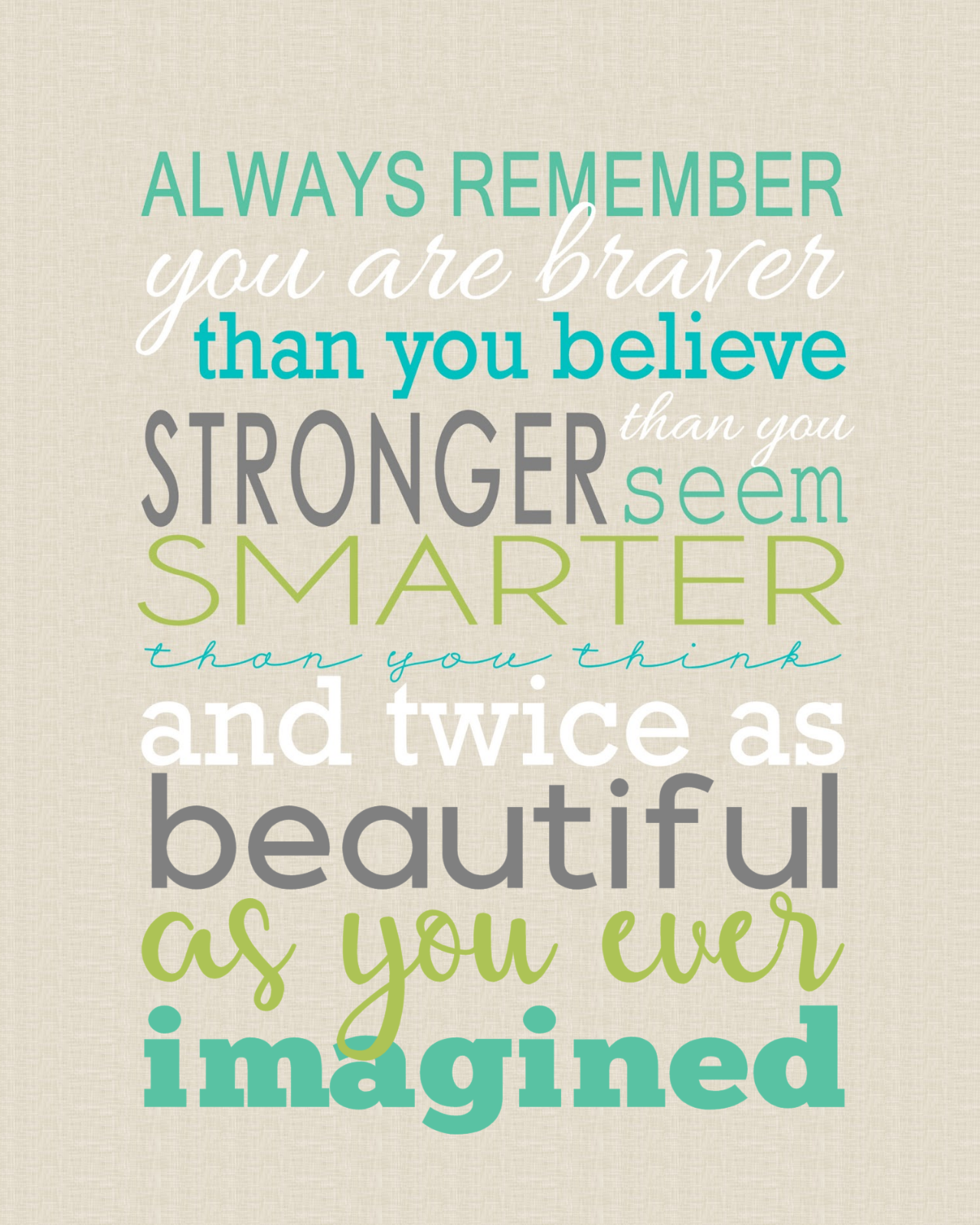 You are Braver Word Art - Whinnie the Pooh Quote You are Braver