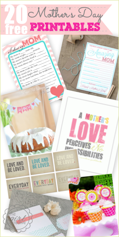 20 Free Mother's Day Printables