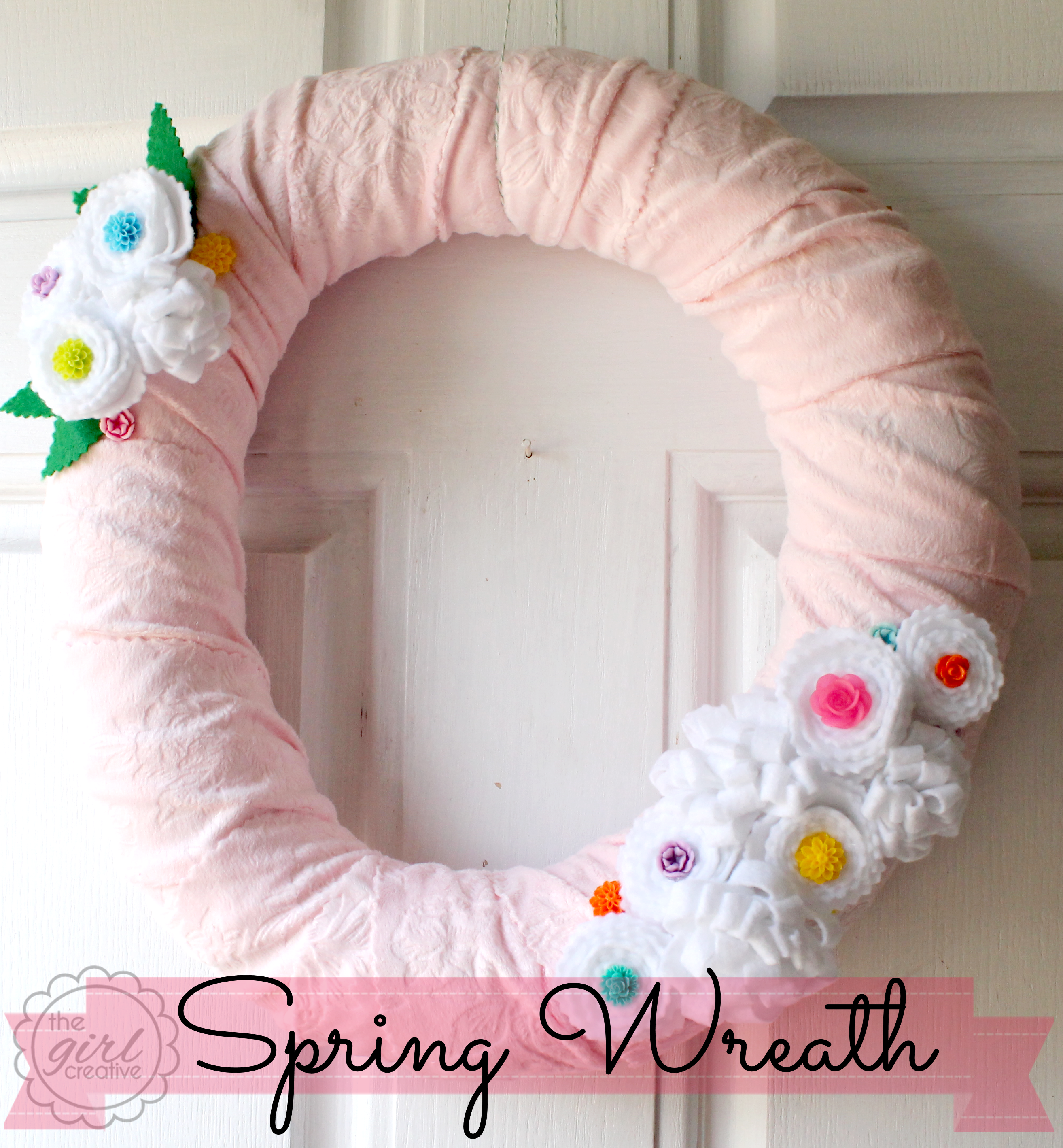 Spring Wreath with Felt Rosettes and Cabochans