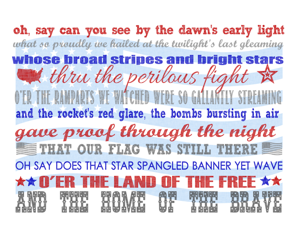 Vibrant image with star spangled banner lyrics printable
