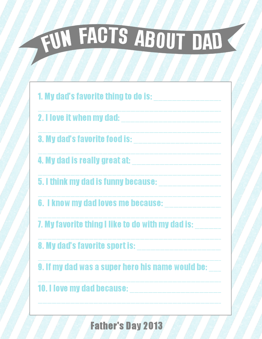 picture relating to Father's Day Questionnaire Printable named Exciting Data Around Father Fathers Working day Present Notion