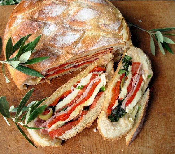 layered picnic sandwich