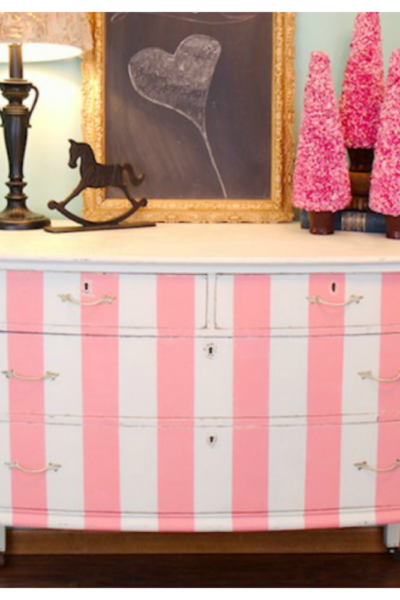 DIY Striped Dresser