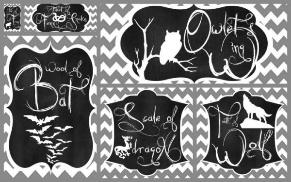 """Double, Double Toil and Trouble!"" Free Halloween Decor and Party Printables!! These free digital prints feature quotes from Shakespeare's Macbeth. These Halloween labels include Witchy Ingredients like ""Howlet's Wing"" and ""Scale of Dragon"" - perfect to decorate your Hallwoeen tablescape. Created by The Love Nerds and seen on The Girl Creative"