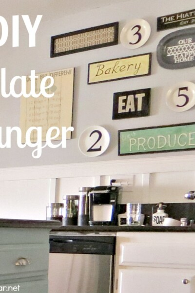 Hang the plates on your wall easily, and efficiently with this simple DIY Plate Hanger tutorial! #DIY #PlateHanger #kitchen #galleryWall #decor