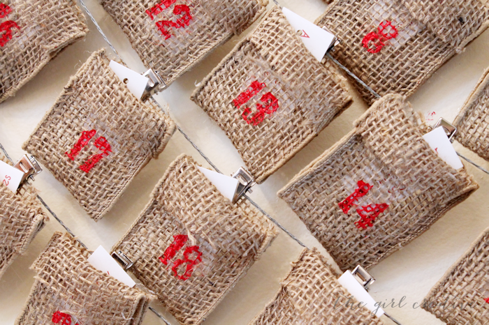 Advent Calendar with Burlap Ribbon Closeup