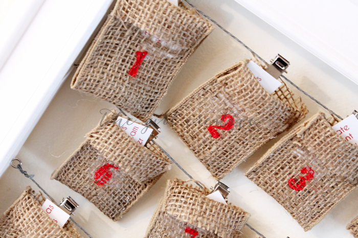 Advent Calendar with Burlap Ribbon - closeup2