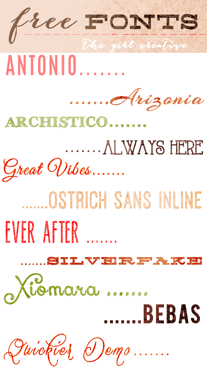 Download Free Fonts - The Girl Creative