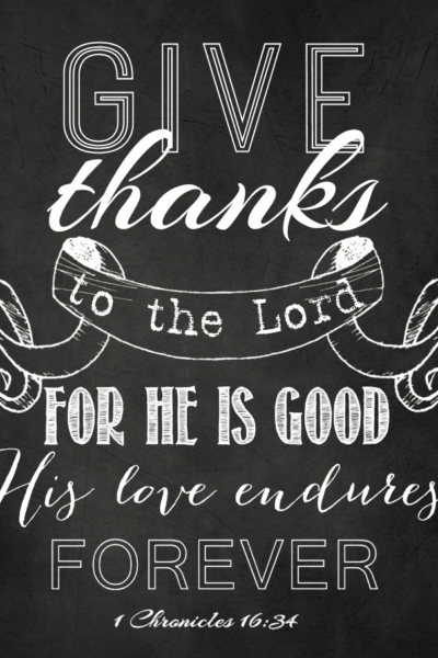 give thanks to the Lord chalkboard art