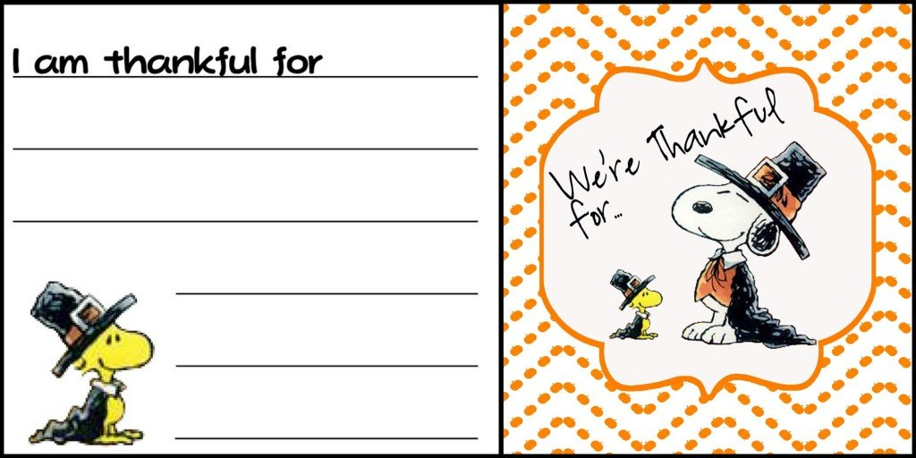 Snoopy Thankful Labels