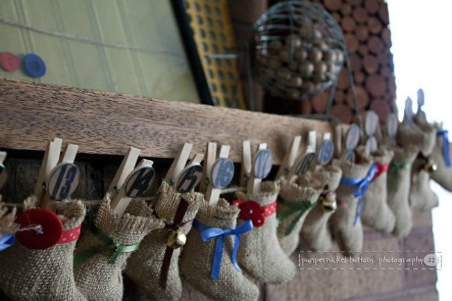 burlap stocking advent
