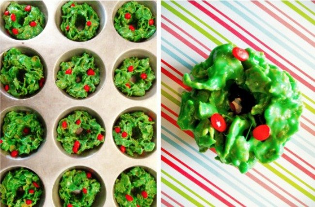 christmas wreath krispie treats
