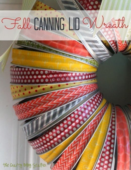 Fall canning lid wreath