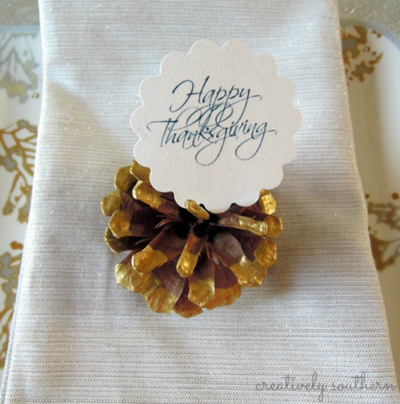 Thanksgiving Pinecone Placecard Holders {and a Free ...