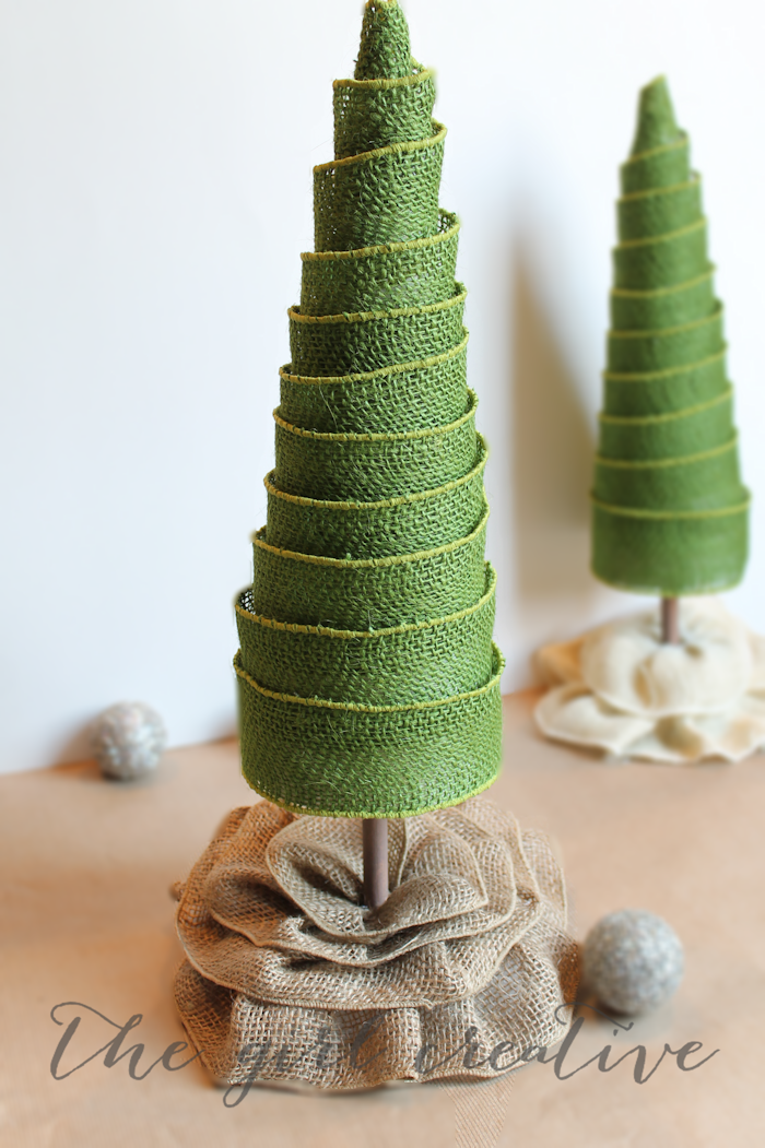DIY Burlap Ribbon Trees