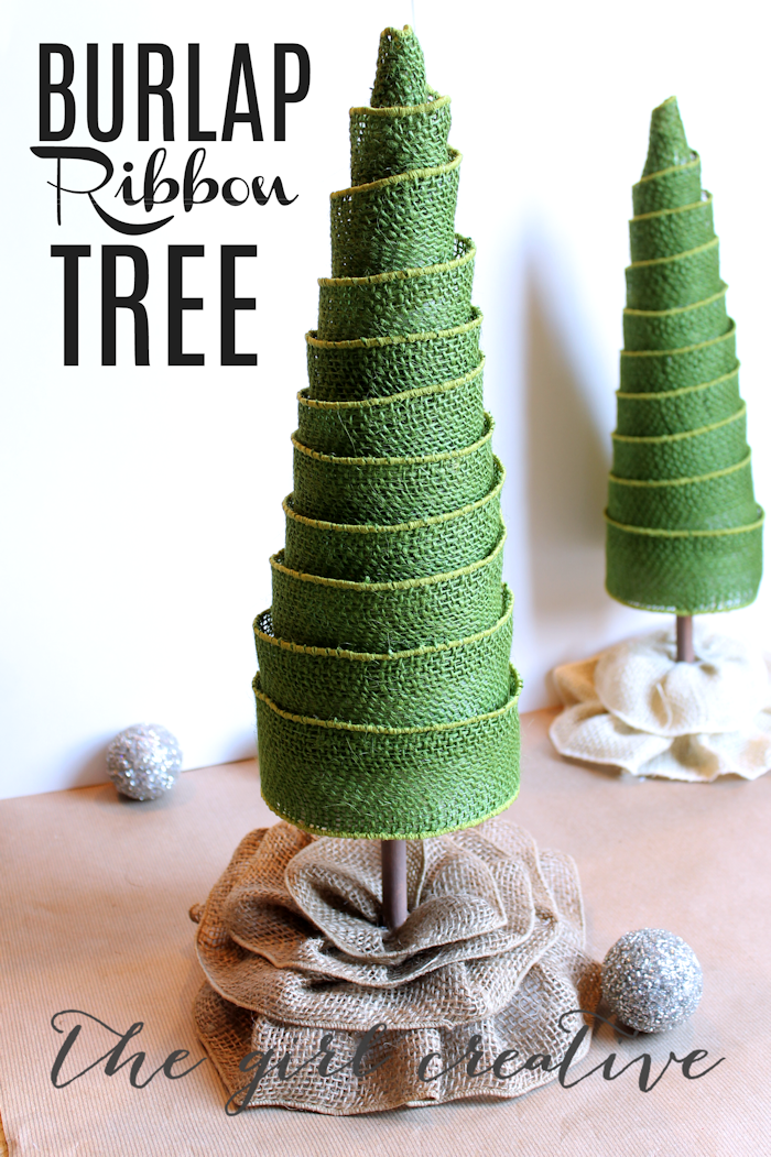 diy burlap ribbon trees the girl creative