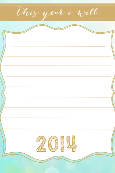 Printable New Year's Resolution