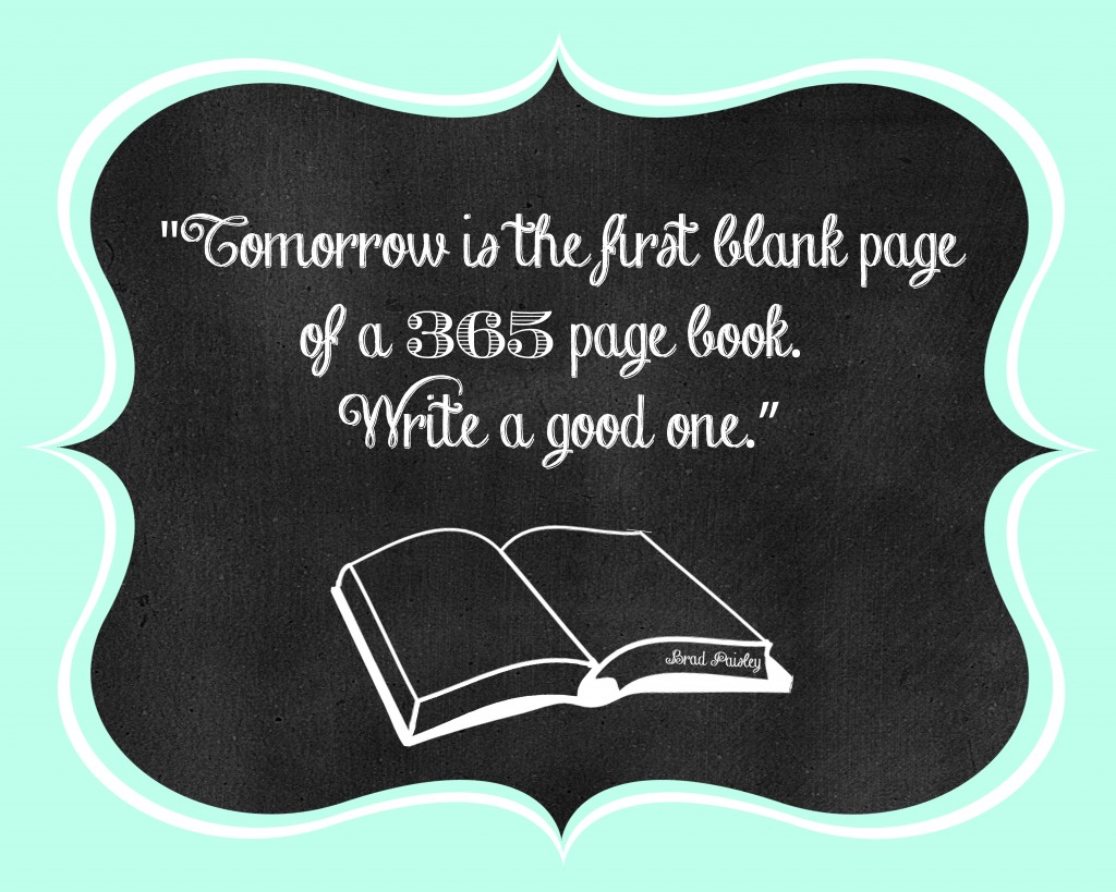 """Tomorrow is the first blank page of a 365 page book. Write a good one."" - New Year Free Printable (designed by The Love Nerds}"