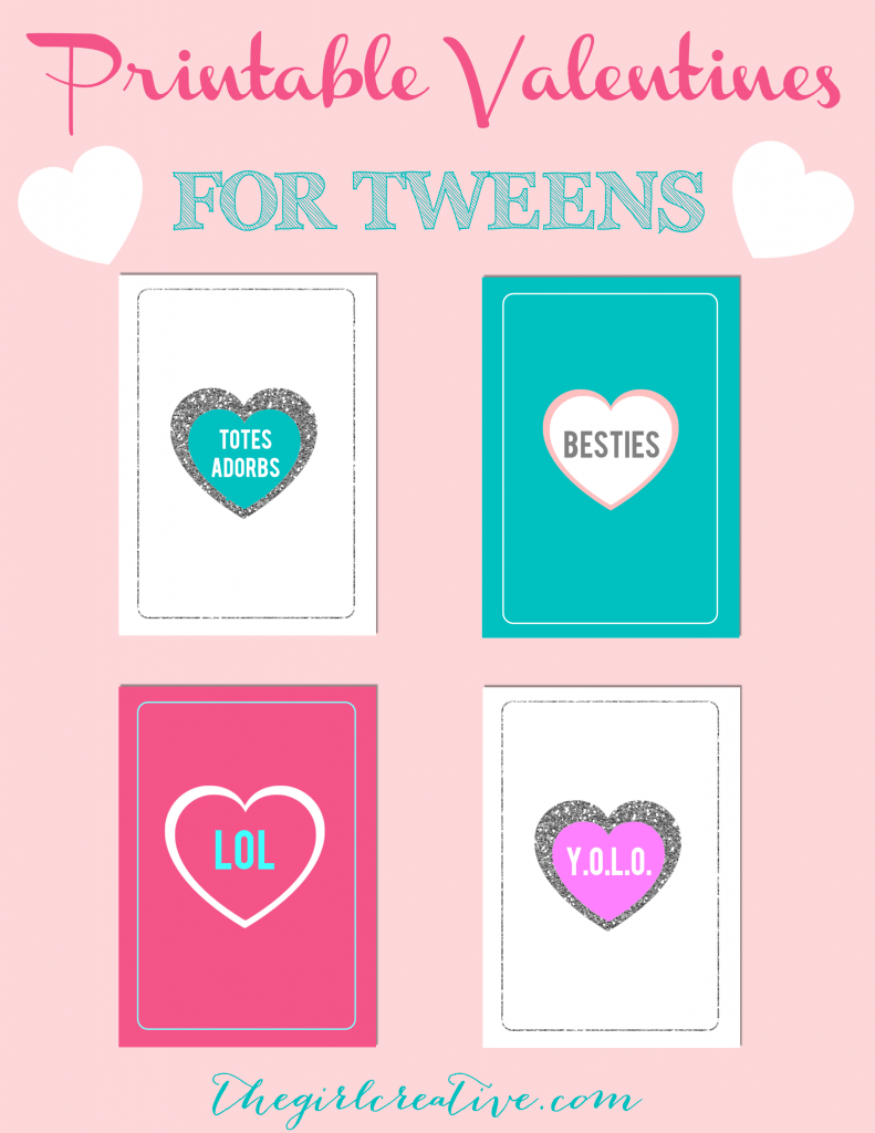 Printable Valentine's for Tweens