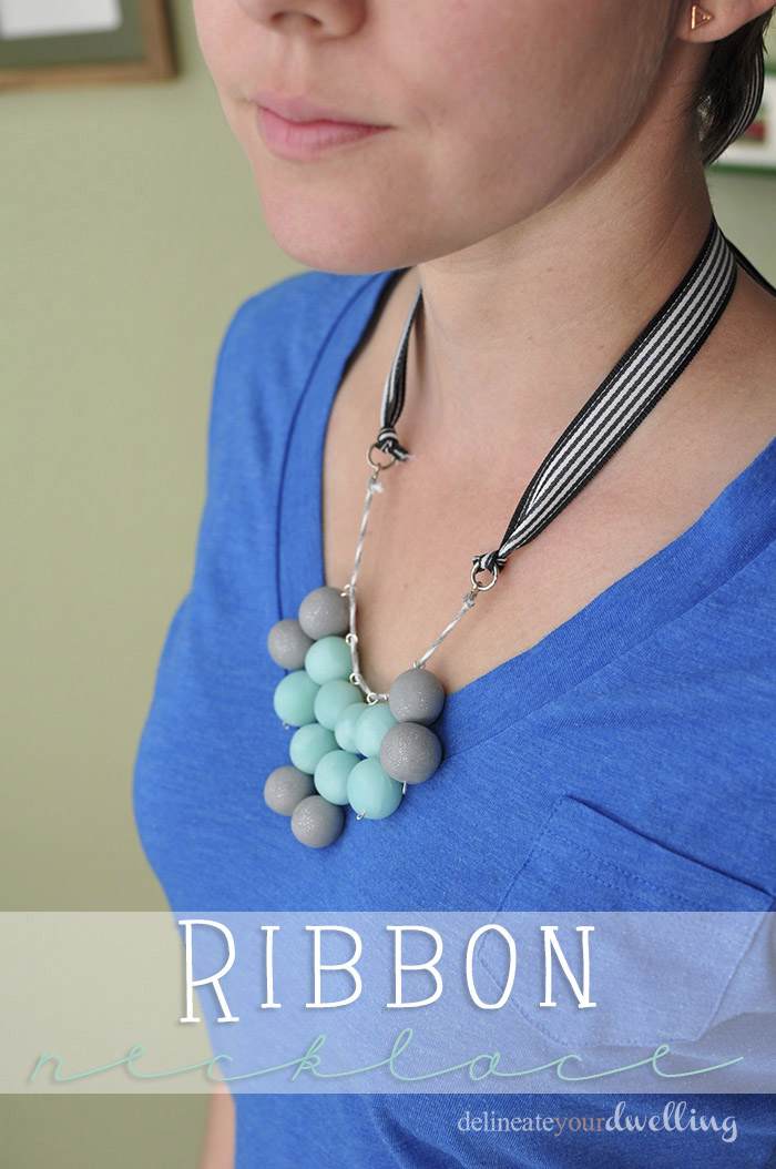 7 ribbon necklace wearing
