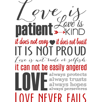 Love is Patient Subway Art Printable {1 Corinthians 13}