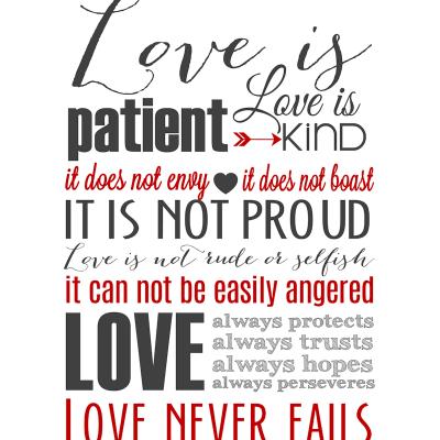 Love is Patient Subway Art Printable {1 Corinthians 13}