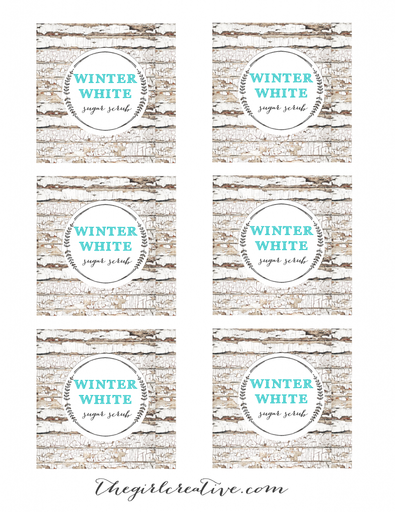 Winter White Sugar Scrub Full Sheet Labels