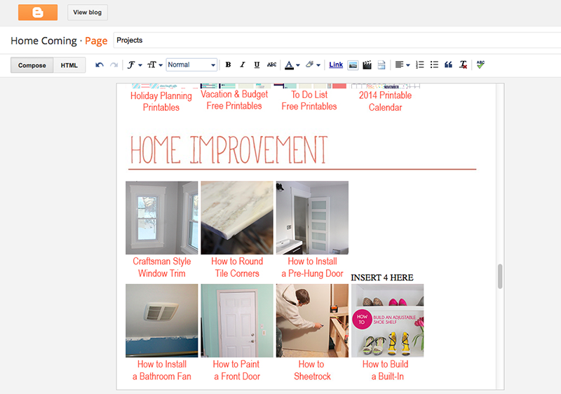 Create a Projects Directory on Blogger | Home Coming