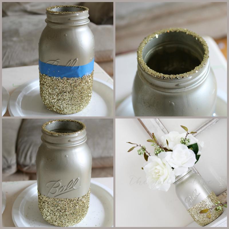 Glitter Dipped Mason Jars