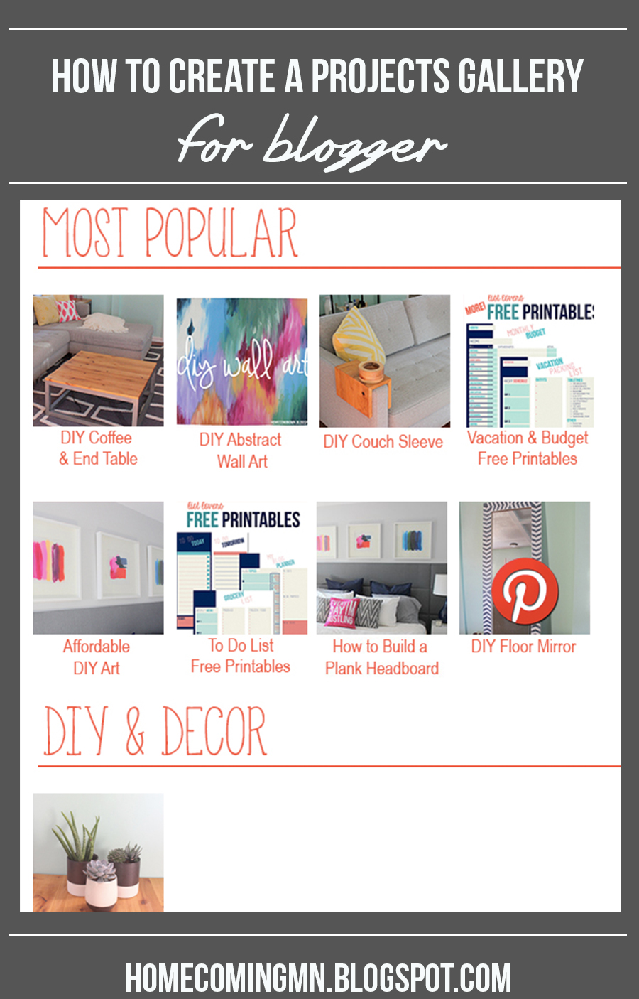 How to Create a Projects Gallery for Blogger   Home Coming