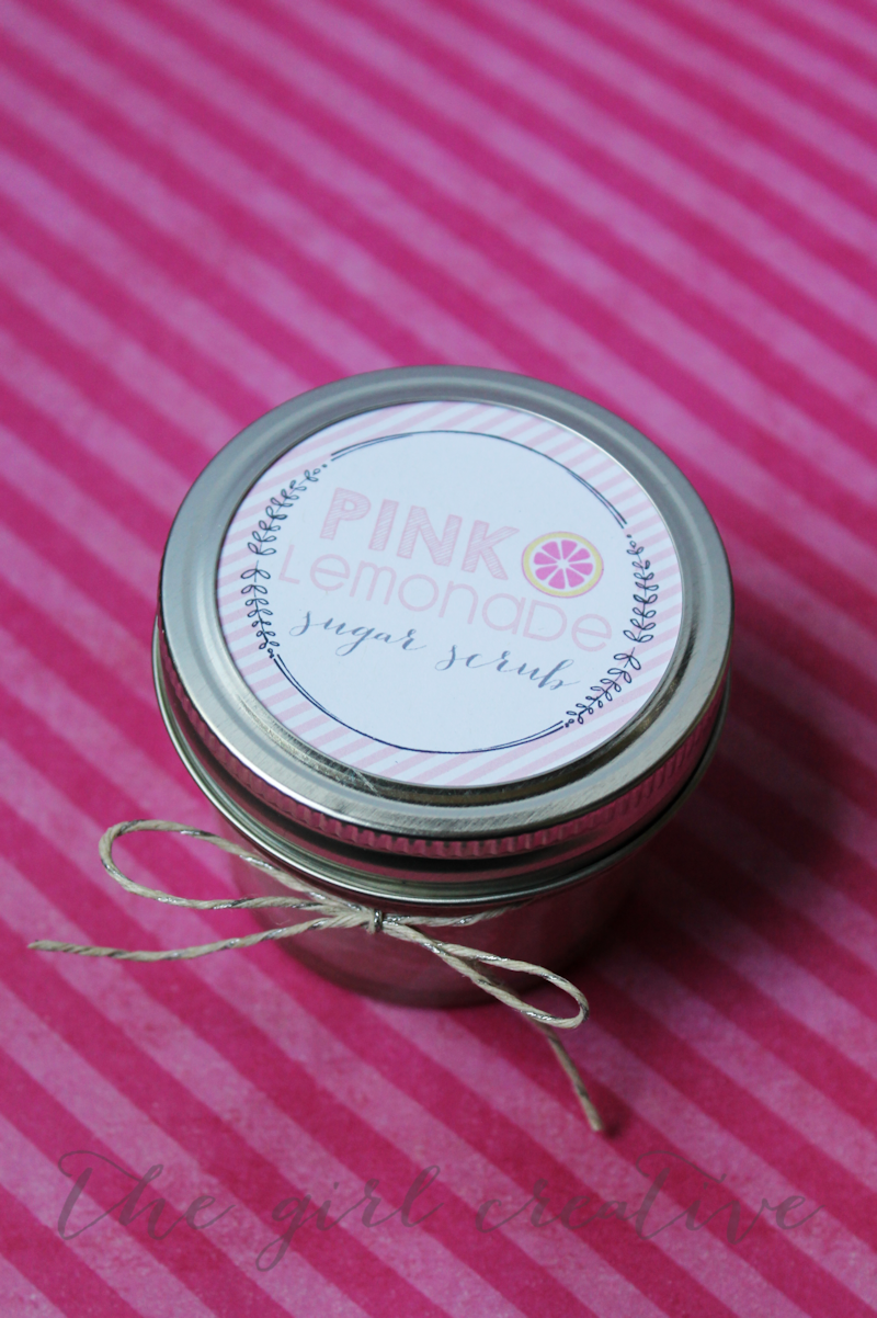 Pink Lemonade Sugar Scrub with free printable labels