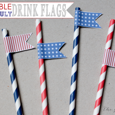 Printable 4th of July Drink Flags