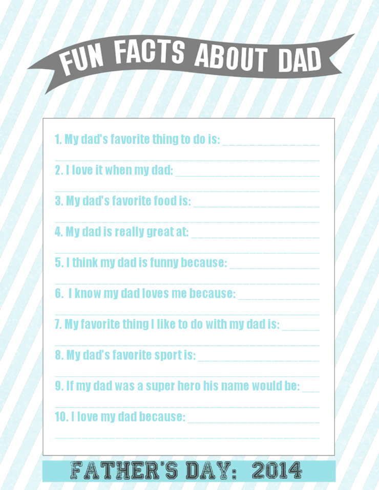 Father's Day Questionnaire for Kids