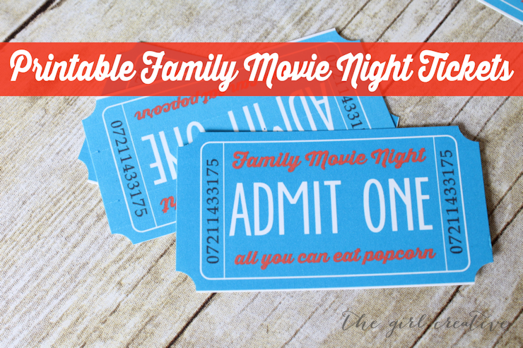 Printable Family Movie Night Tickets