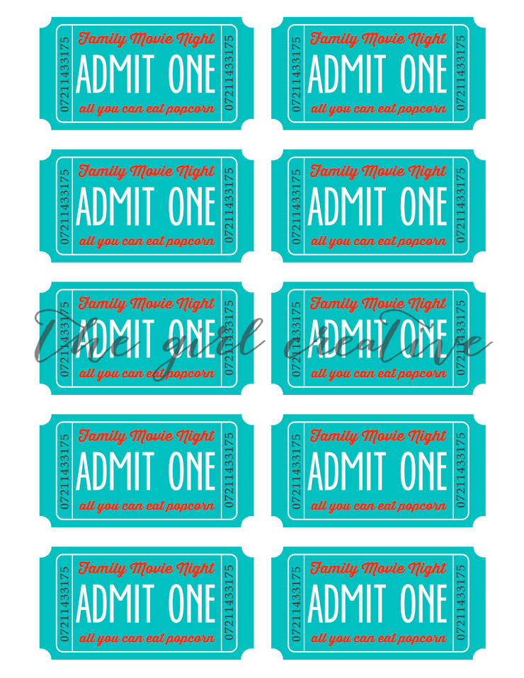 Family Movie Night Ticket Full Sheet