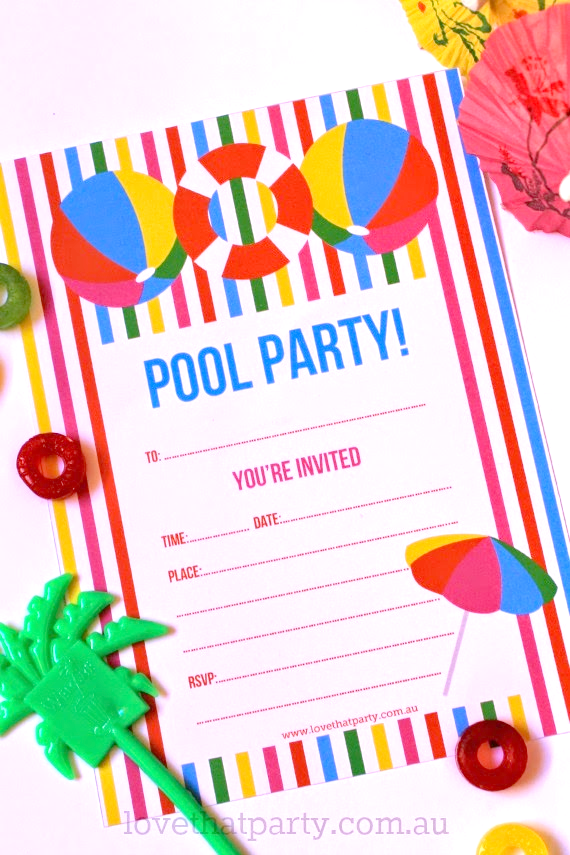 Free Printable Summer Pool Party Invitation The Girl Creative – Party Invitations for Free