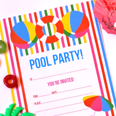 Free Printable Summer Pool Party Invitation