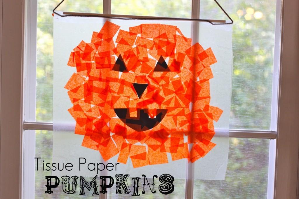 Halloween Crafts-Tissue Paper Pumpkins