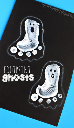 Halloween Crafts-footprint ghosts