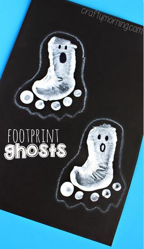 Halloween Crafts-footprint ghosts