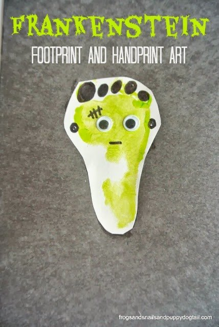 Halloween Crafts-frankandprintfootprint