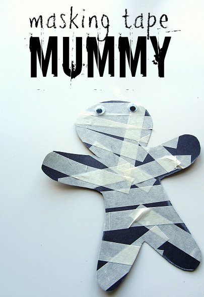 Halloween Crafts-masking tape mummy