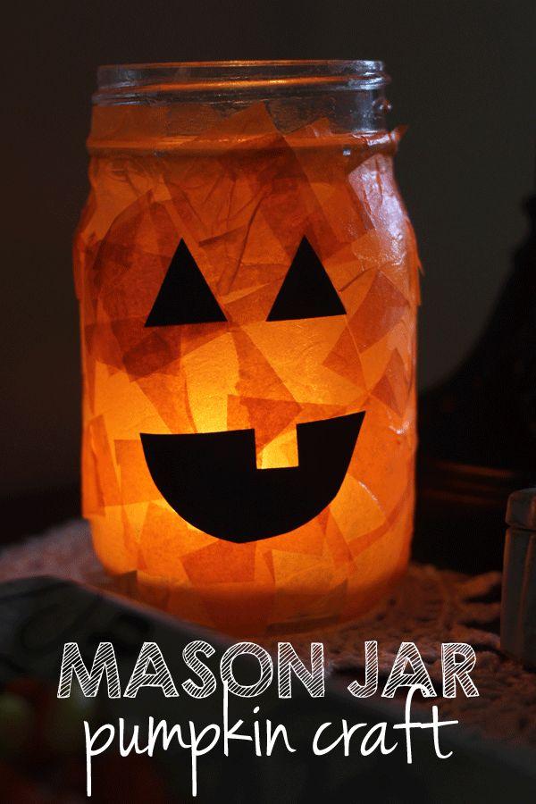 Halloween Crafts-mason jar pumpkin